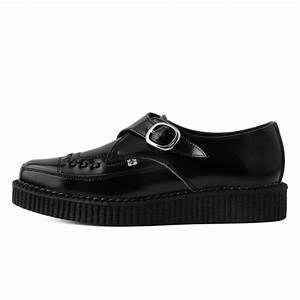Black Leather Monk Buckle Pointed Creeper