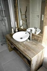 meuble salle de bain bois 35 photos de style rustique With meuble salle de bain bois brut