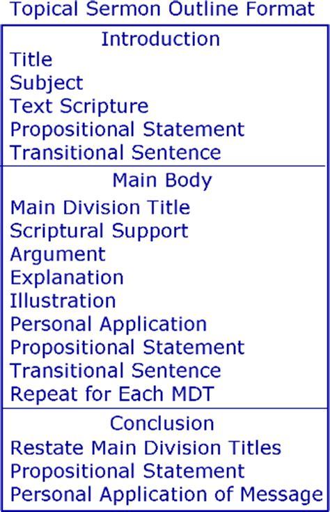 sermon outline template topical sermon outline format