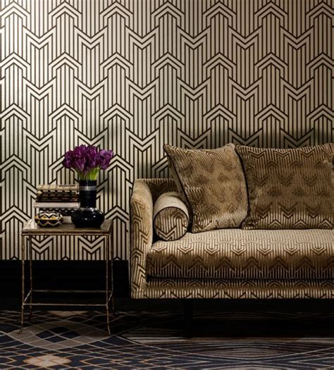 Art Deco Wallpaper  Inspired By 1920's Glamour. Black Stainless Steel. Small Office Design. Black Flooring. Tub With Jets