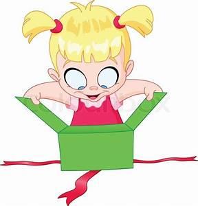 Little girl open a green gift box | Stock Vector | Colourbox