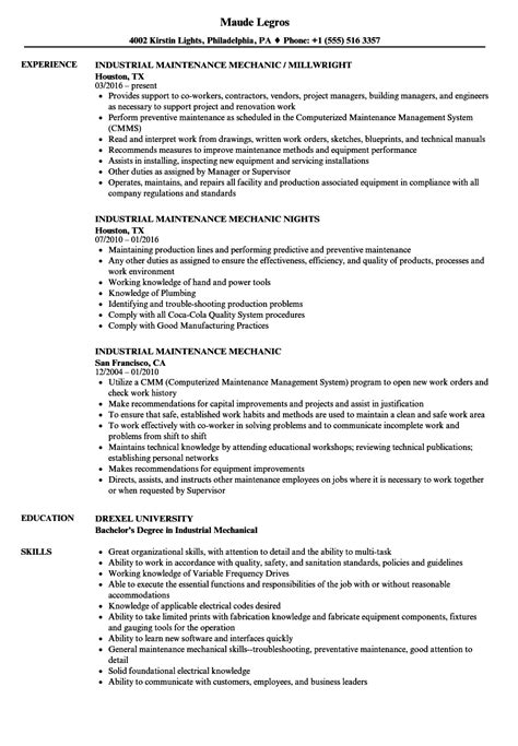 Maintenance Mechanic Resume Sles by Industrial Maintenance Mechanic Resume Vvengelbert Nl