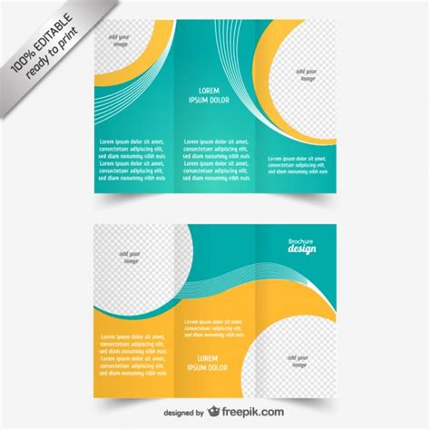 Brochure Free Templates by Blue And Yellow Brochure Template Vector Free
