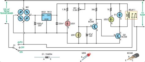 Light Controlled Pond Pump Circuit Diagram