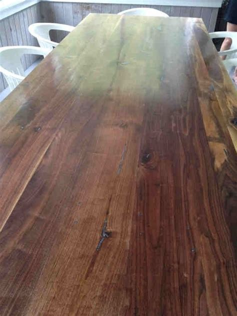 Hand Made Walnut Farm Table With Lapis And Abalone Shell