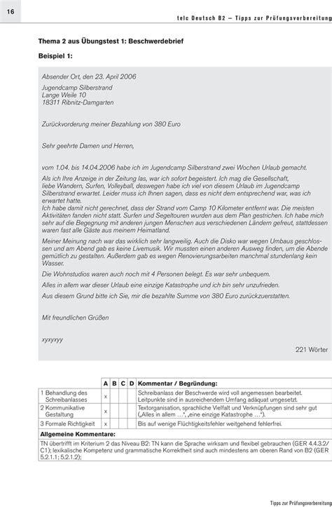 beschwerdebrief schreiben uebung freyajacklin