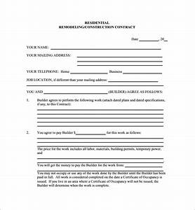 Sample Remodeling Contract 11 Home Remodeling Contract Templates To Download For Free