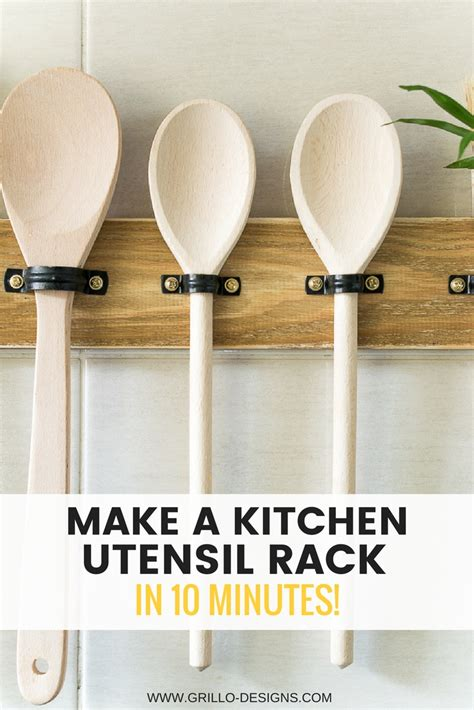 kitchen utensil design make a diy utensil hanging rack in 10 mins grillo designs 3419