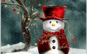 Free Cute Christmas Snowman computer desktop wallpaper
