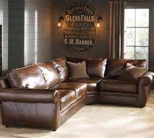 Country Living Room with Brown Leather Furniture