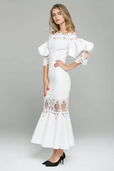 Midi Dress Dress Ola By Ladiva white satin the shoulder puff sleeved lace detail midi