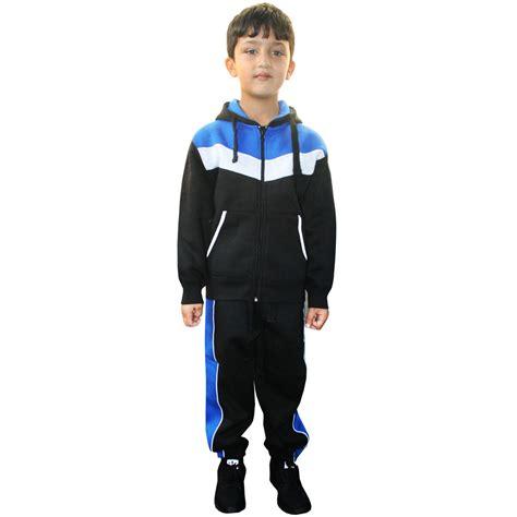 KIDS BOYS HOODED TRACK SUIT FLEECE JOGGING BOTTOM SWEATSHIRT ZIP TOP CONTRAST   eBay