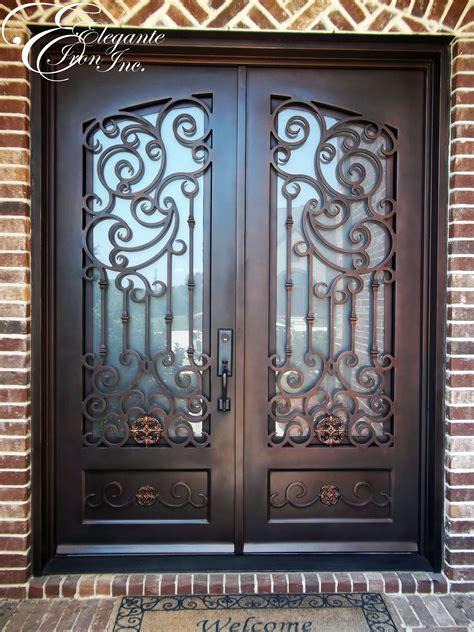 custom wrought iron front door  scrollwork