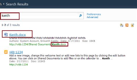 srikanth reddy sharepoint search results display the filename of a word doc instead of