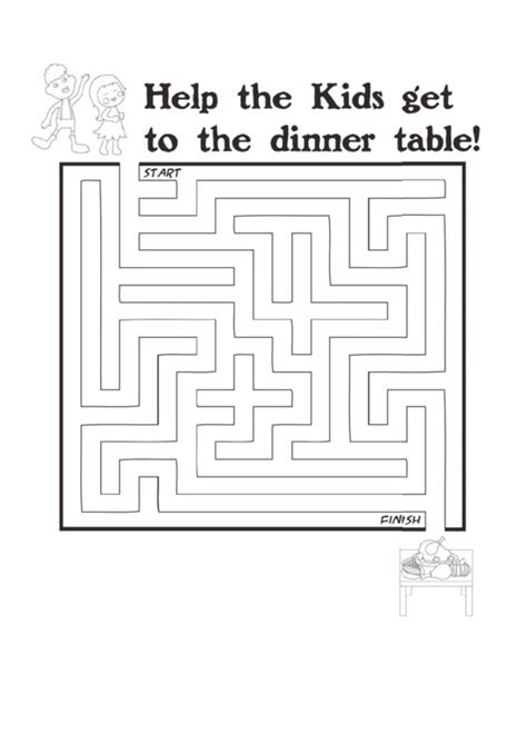 kids dinner thanksgiving maze template printable