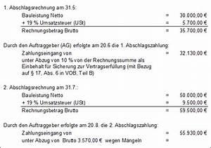 Abschlagszahlung Rechnung Muster : schlussrechnung normen und richtlinien ausschreibungstexte baunachrichten begriffs ~ Themetempest.com Abrechnung