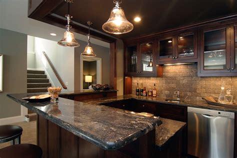Basement Wet Bar  Traditional  Basement  Rubble Tile