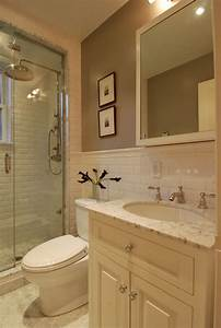 Beveled subway tiles transitional bathroom the for Best brand of paint for kitchen cabinets with bathroom wall art sets