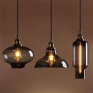 Retro vintage industrial smokey glass shade loft pendant