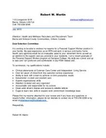personal support worker resume exle new psw cover letter july 2015