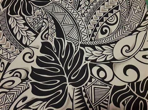 black  tan polynesian tattoo fabric hawaiian fabric aloha