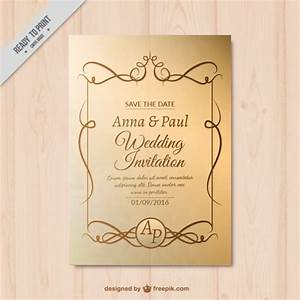 golden wedding invitation with ornaments vector free With golden wedding invitations free downloads