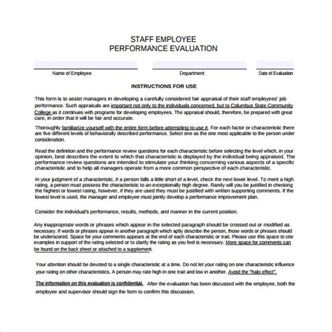 employee confirmation evaluation form 41 sle employee evaluation forms to download sle