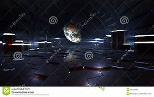 Alien Space Station Interior Observing Earth Stock ...