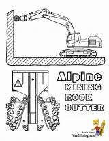 Coloring Construction Mining Bit Digging Excavator Machine Alpine Bits Rock Yescoloring sketch template