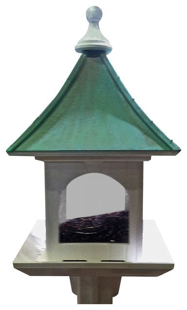 extra large post mount bird feeder in vinyl copper patina
