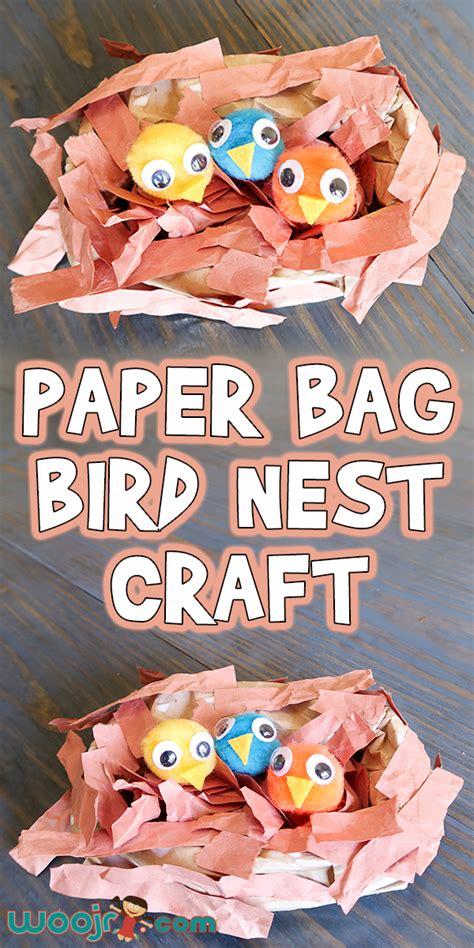 easy paper bag bird nest craft woo jr kids activities