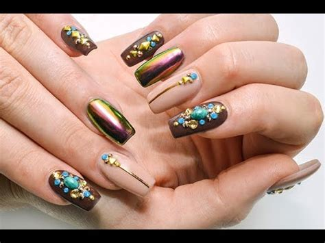 chrome bling nails   apply rhinestones youtube