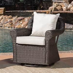 Aulena, Outdoor, Wicker, Swivel, Rocking, Chair, With, Cushions, Dark, Brown, Beige