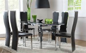 glass dining room table set space celeste extending glass chrome dining room table 4 6 chair set black