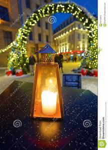 Hand, Lantern, With, Candle, In, Front, Of, The, Entrance, To, The, Christm, Stock, Photo