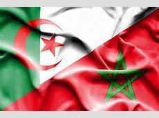 Waving flag of Morocco and Algeria — Stock Photo