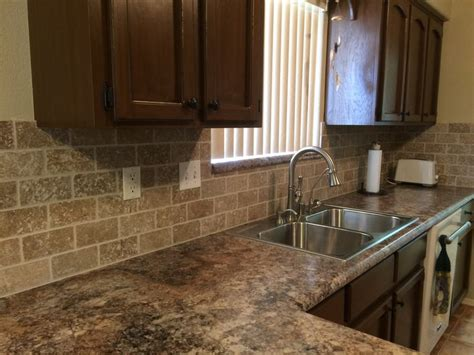 noce travertine backsplash formica s quot antique mascarello quot counter with tumbled noce 3 quot x6 quot travertine backsplash tiles and