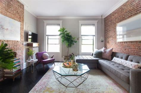 Brooklyn Living Room With Exposed Brick Walls Kitchen Sink And Faucet Combinations Bleach Black Sinks How To Make A Concrete For Blanco Install Industrial Hole Size