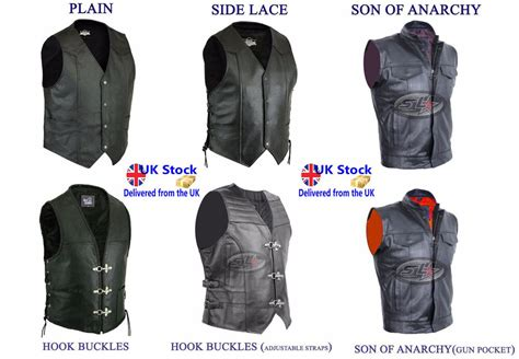 Mens Leather Waistcoat Motorcycle Black Various Style