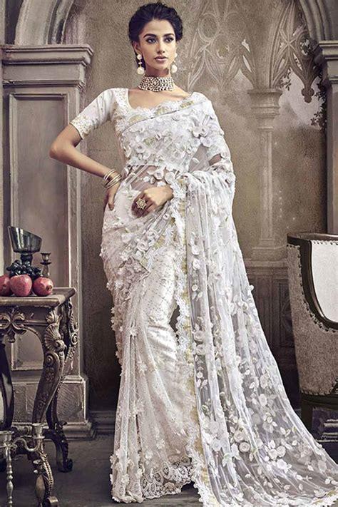 buy  white net saree  banglori silk blouse