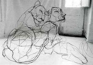 Wire Animal Sculptures That Look Like Scribbled Pencil