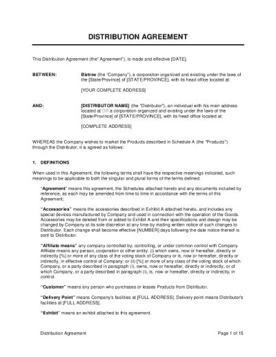 termination  distribution agreement template word