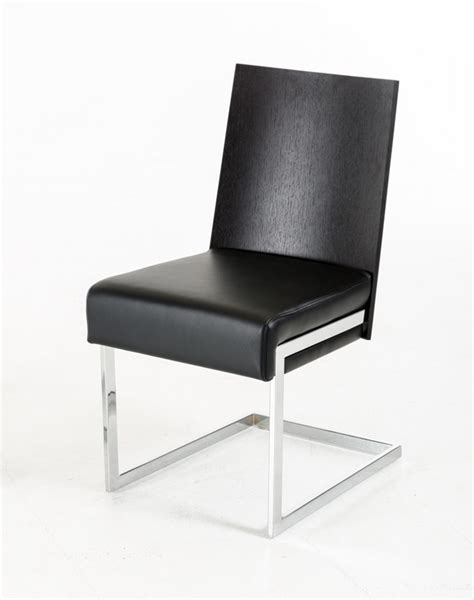 etch modern oak and black leatherette dining chair