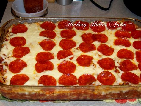 pizza casserole hickery holler farm pizza casserole