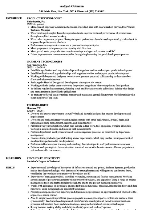 Technologist Resume by Technologist Resume Sles Velvet