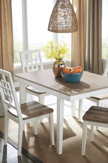 brovada rectangular dining room table set  white