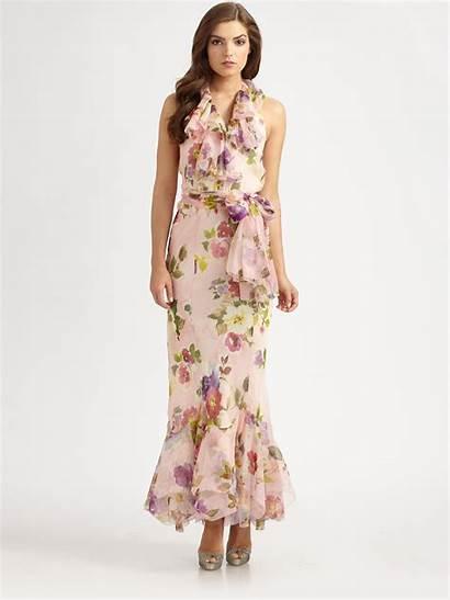 Floral Ralph Lauren Silk Organza Label Maxi
