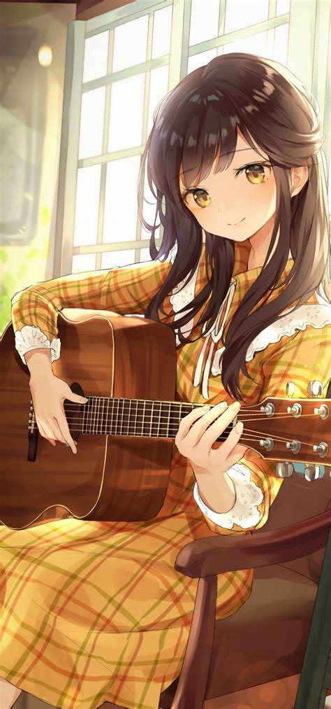 Download 1080x2310 Anime Girl Playing Guitar Instrument