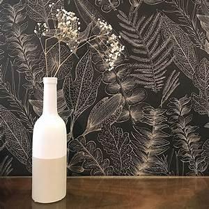 Papier Peint Noir Et Doré : papier peint flore noir et taupe ~ Melissatoandfro.com Idées de Décoration