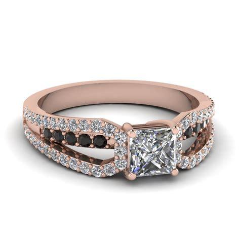 rose gold princess white diamond engagement wedding ring with black diamond in prong
